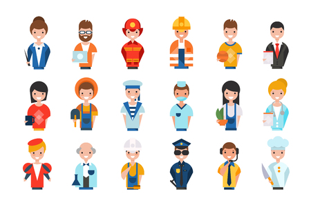 People of different professions set, working people avatars, teacher, system administrator, fireman, farmer, scientist, actor, builder vector Illustrations isolated on a white background.