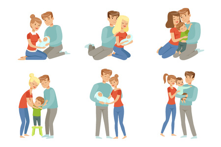 Illustration pour Happy parents embracing their kids set, mother and father hugging their children, happy family concept vector Illustration isolated on a white background. - image libre de droit