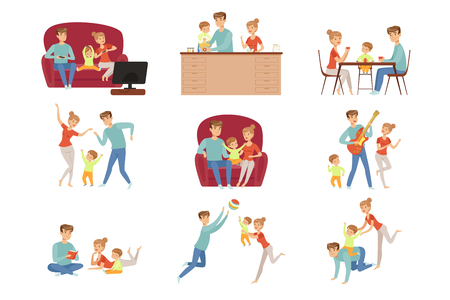 Illustration pour Mom, dad and their little son spending time together set, happy family and parenting concept vector Illustration isolated on a white background. - image libre de droit