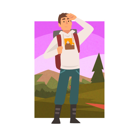 Illustration for Young Man Travelling with Backpack, Male Traveller Looking into Distance in Summer Mountain Landscape, Outdoor Activity, Travel, Camping, Backpacking Trip or Expedition Vector Illustration on White Background. - Royalty Free Image