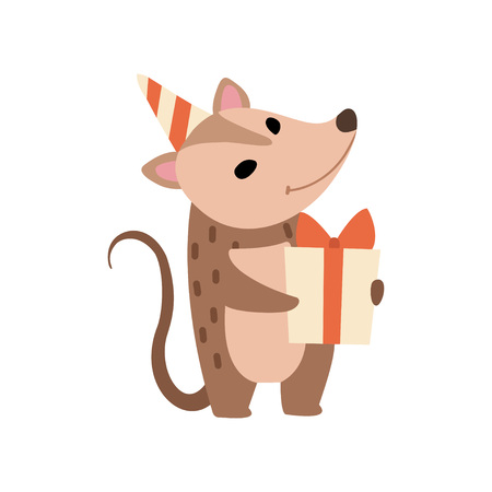 Illustration pour Cute Opossum in Party Hat Standing with Gift Box, Adorable Wild Animal Cartoon Character Vector Illustration on White Background. - image libre de droit