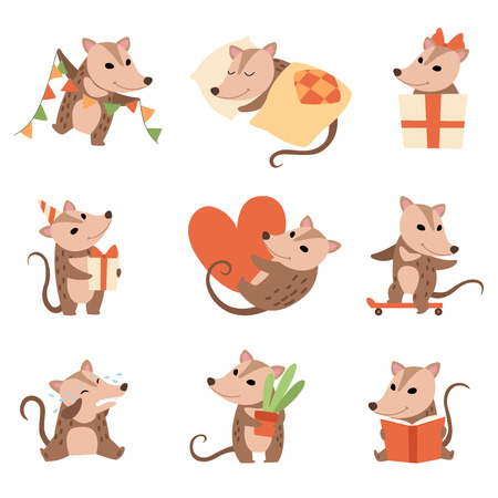Illustration pour Cute Opossums Set, Adorable Wild Animals Cartoon Characters in Various Situations Vector Illustration on White Background. - image libre de droit