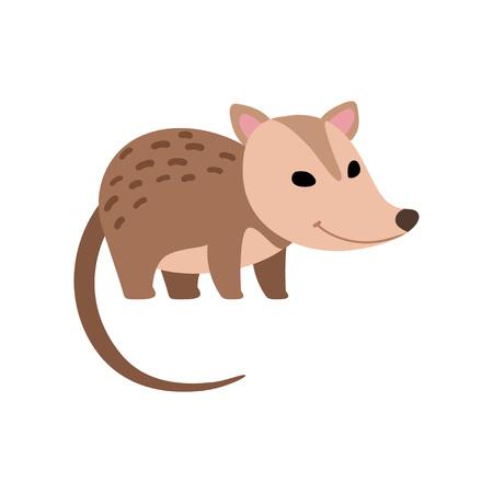 Illustration pour Cute Opossum Wild Animal Side View Vector Illustration - image libre de droit