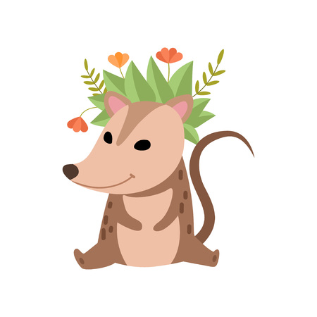 Illustration pour Cute Opossum Wearing Wreath of Flowers, Adorable Wild Animal Cartoon Character Vector Illustration on White Background. - image libre de droit