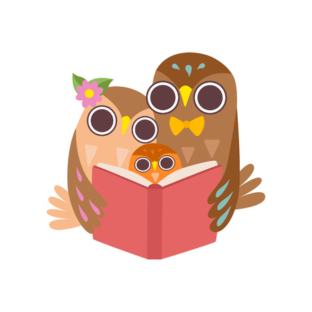 Illustration for Father Owl Reading Book to His Owlet, Happy Family of Owls, Cute Cartoon Birds Characters Vector Illustration on White Background. - Royalty Free Image