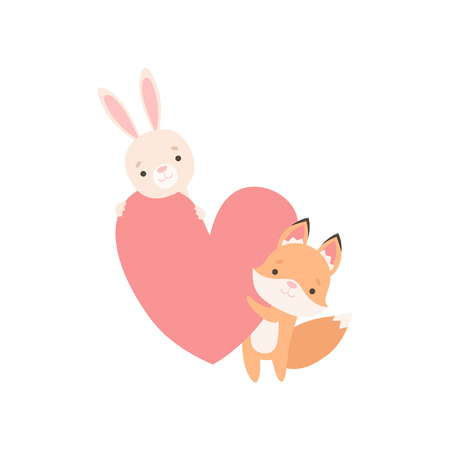 Illustration pour Lovely White Little Bunny and Fox Cub Holding Big Red Heart, Cute Best Friends, Adorable Rabbit and Pup Cartoon Characters Vector Illustration on White Background. - image libre de droit