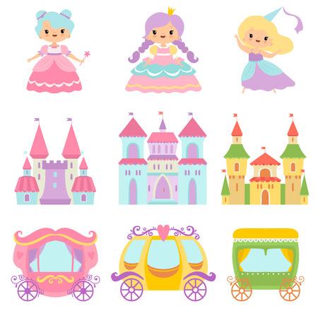 Illustration pour Collection of Cute Little Princesses, Magic Castles, Fairy Tale Carriages, Fantasy Kingdoms Cartoon Vector Illustration - image libre de droit