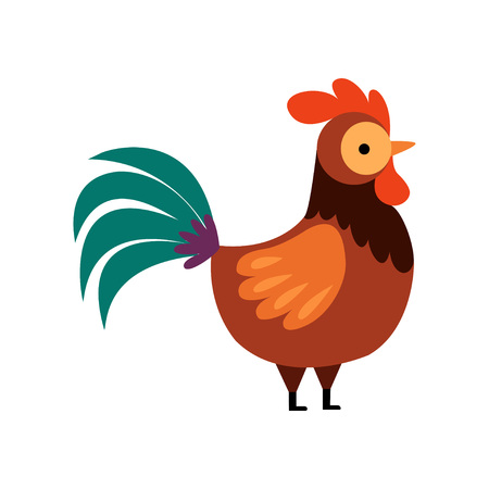 Illustration pour Rooster with Bright Plumage, Farm Cock, Side View, Poultry Farming Vector Illustration on White Background. - image libre de droit