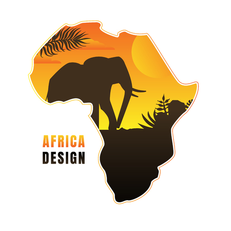 Illustration pour Map of Africa with Black Silhouette of Elephant at Sunset Vector Illustration in Flat Style. - image libre de droit