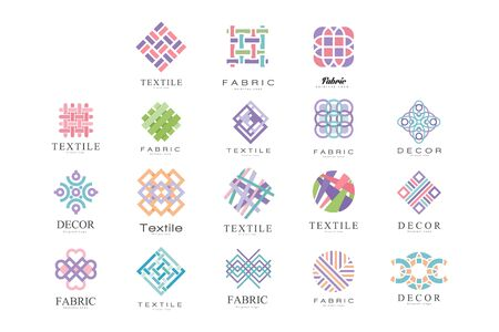 Illustration pour Textile, Fabric, Decor Logo Design Set, Tailor Shop, Sewing, Tailoring Industry Design Element Vector Illustration - image libre de droit