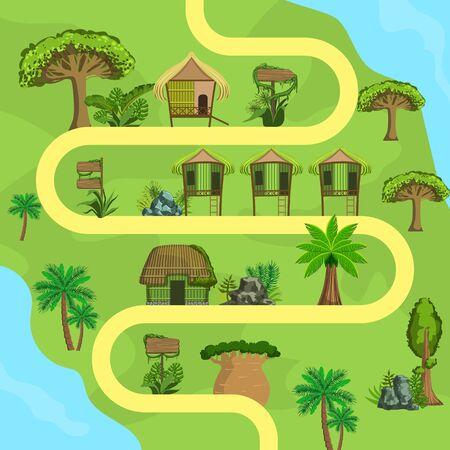 Illustration pour Map of Tropical Island with Bungalows, Top view, Summer Travel, Beach Resort Vector Illustration, Web Design. - image libre de droit