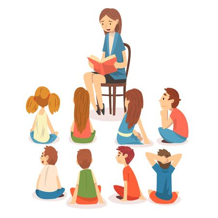 Illustration pour Group of Preschool Kids Sitting on Floor and Listening Teacher Who Reading a Book Vector Illustration on White Background. - image libre de droit
