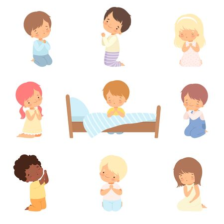 Illustration pour Collection of Cute Little Children Characters Kneeling and Praying Cartoon Vector Illustration - image libre de droit
