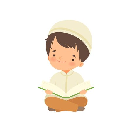 Illustration pour Muslim Boy Character Kneeling Down Praying and Reading Quran Cartoon Vector Illustration - image libre de droit