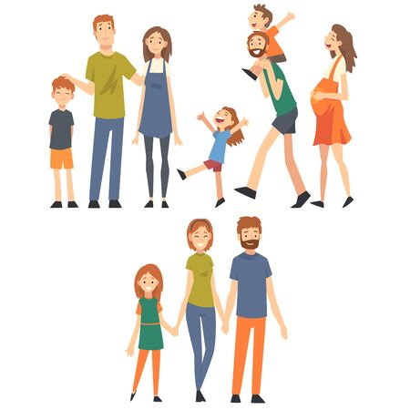 Illustration pour Happy Family with Children Set, Mothers, Fathers and Their Kids Spending Good Time Together Cartoon Vector Illustration on White Background. - image libre de droit