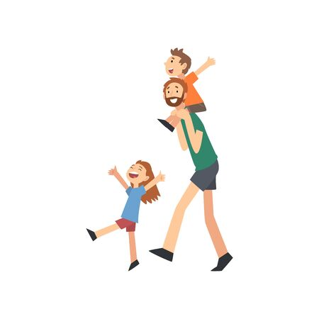 Illustration pour Dad and Son Spending Good Time Together, Dad Carrying Son on His Shoulders, Happy Family Concept Cartoon Vector Illustration on White Background. - image libre de droit