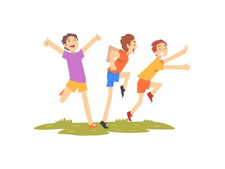 Illustration for Happy Boys Having Fun Outdoors, Freinds Playing on Nature, Summer Outdoor Activities Vector Illustration on White Background. - Royalty Free Image