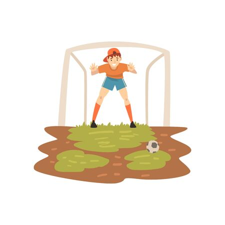 Illustration for Goalkeeper Standing at Gate on Sport Field, Soccer Player, Summer Outdoor Activities Vector Illustration on White Background. - Royalty Free Image