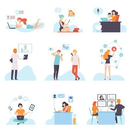 Illustration pour People Communicating Via Internet with Mobile Devices Set, Young Men and Women Chatting, Purchasing, Meeting, Discussing, Writing Emails, Social Networking Vector Illustration on White Background. - image libre de droit