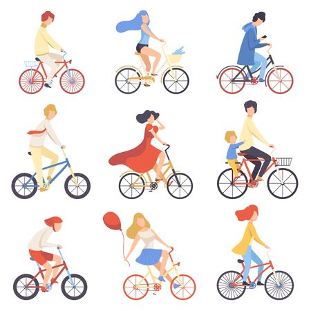 Illustration pour People in Casual Clothes Riding Bicycles Set, Cycling Men and Women Exercising, Relaxing or Going to Work Vector Illustration - image libre de droit