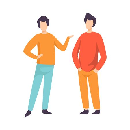 Two Young Men Dressed in Casual Clothing Standing and Talking, People Speaking to Each Other Vector Illustration on White Background.