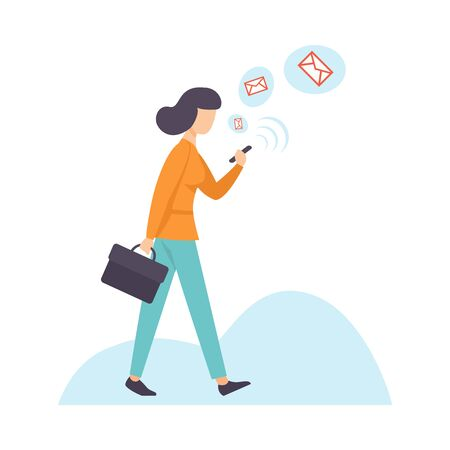 Illustration pour Businesswoman Chatting Using Smartphone, Woman Communicating Via Internet with Mobile Device, Social Networking Vector Illustration on White Background. - image libre de droit