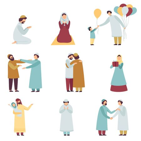 Illustration for Muslim People in Traditional Clothing Celebrating Eid Al Adha Islamic Holiday Set, Men and Women Praying, Greeting Each Other, Giving Gifts Vector Illustration on White Background - Royalty Free Image
