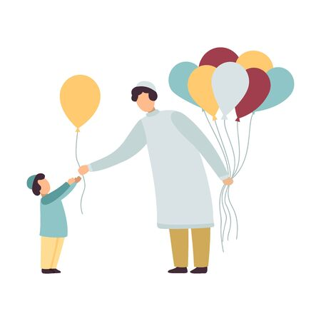 Illustration pour Muslim Father and His Son, Happy Arab Family in Traditional Clothes Vector Illustration on White Background. - image libre de droit