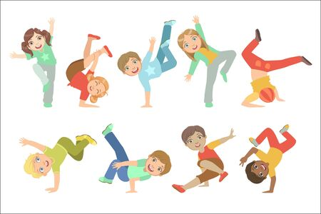 Ilustración de Kids Performing Modern Dance Set Of Cute Big-eyed Characters Flat Vector Isolated Illustrations On White Background - Imagen libre de derechos