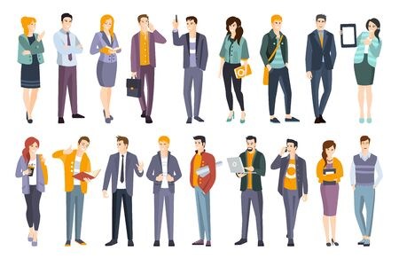 Illustration pour Young Professional Confident People Set. Man And Women Wearing Modern Dress Code Office Clothing Flat Illustrations - image libre de droit