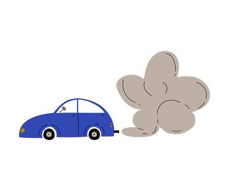 Illustration pour Car with Exhaust Smoke Cloud, Ecological Problem, Air Pollution Vector Illustration - image libre de droit