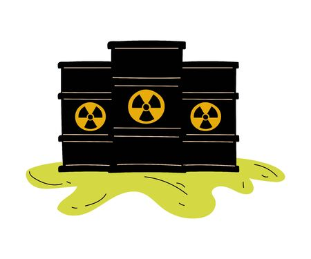 Flowing Barrels of Nuclear Waste, Ecological Problem, Environmental Pollution By Chemicals and Industry Waste Vector Illustration