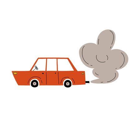 Illustration pour Red Car with Exhaust Smoke Cloud, Ecological Problem, Air Pollution Vector Illustration - image libre de droit