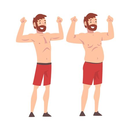 Illustration for Fat and Slim Man, Bearded Man Before and After Weight Loss, Male Body Changing Through Healthy Nutrition or Sports Vector Illustration on White Background. - Royalty Free Image