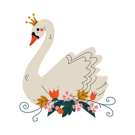 Illustration pour Beautiful White Swan Princess with Golden Crown and Flowers, Lovely Fairytale Bird Vector Illustration on White Background. - image libre de droit