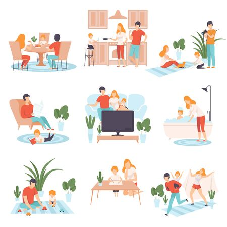 Illustration pour Parents and Their Kid in Everyday Life at Home Set, Family Cooking, Eating, Reading Books, Watching TV, Playing Games Together Vector Illustration on White Background. - image libre de droit