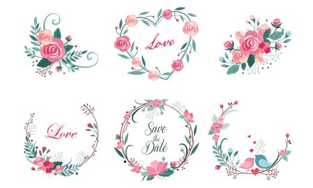 Photo pour Floral Frame Collection, Wedding Invitation, Save the Date Card Design Elemets, Wreath with Blooming Flowers and Love Birds Vector Illustration - image libre de droit