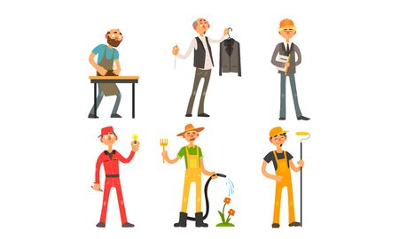 Illustration for People of Different Professions, Carpenter, Tailor, Architect, Foreman, Electrician, Gardener Painter Vector Illustration on White Background - Royalty Free Image
