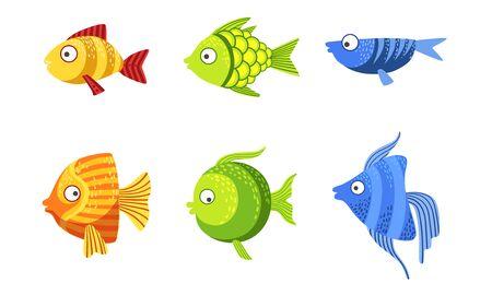 Ilustración de Cute Fish Set, Colorful Tropical Sea or Aquarium Fish Vector Illustration - Imagen libre de derechos