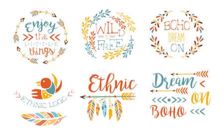 Illustration pour Enjoy the Little Things Hand Drawn Badges Set, Wild and Free, Boho Dream on, Ethnic Logo Templates Vector Illustration - image libre de droit