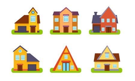 Illustration for Suburban Residential Houses and Cottages Set,Traditional Real Estate Buildings, Front View Vector Illustration - Royalty Free Image