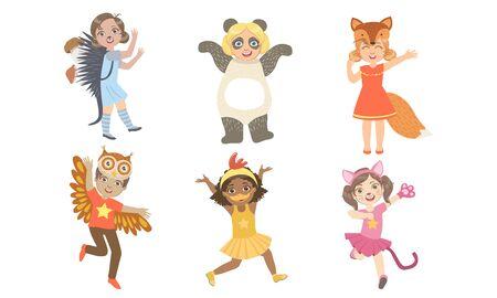 Illustration pour Cute Happy Kids Dressed Animal Costumes Set, Hedgehog, Panda, Fox, Owl, Chicken, Cat Vector Illustration - image libre de droit