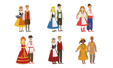 Illustration for Men and Women Dressed Folk Costumes of Various Countries Set, Denmark, Ukraine, Russia, Germany, Finland, Nigeria Vector Illustration - Royalty Free Image