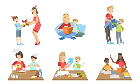 Illustration for Mother and Son Performing Daily Activities Together Set, Cooking, Reading Book, Making Applique, Giving Gifts Vector Illustration on White Background. - Royalty Free Image