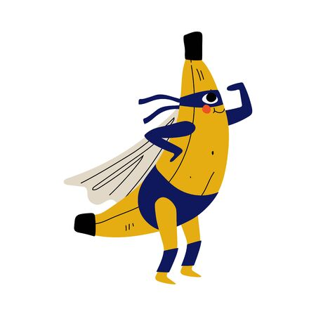 Illustration pour Cute Superhero Banana in Mask and Cape, Funny Fruit Cartoon Character in Costume Vector Illustration - image libre de droit