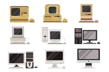 Illustration pour Computers set, PC evolution from obsolete to modern vector Illustrations on a white background - image libre de droit