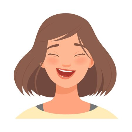 Emotion of laughter on the face of a brunette woman. Vector illustration.