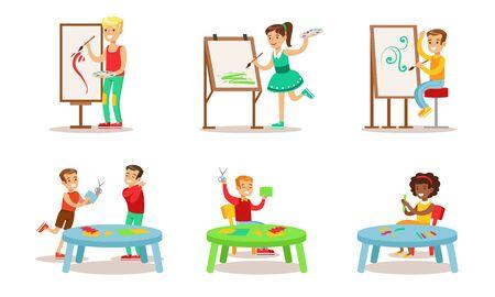 Illustration pour School Children Hobbies Set, Teenagers Boys and Girls Painting, Making Application Vector Illustration - image libre de droit