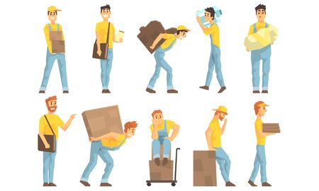 Illustration for Couriers in Uniform Delivering Packages and Parcels, Moving and Delivery Company, Package Mail Delivery Service Vector Illustration - Royalty Free Image