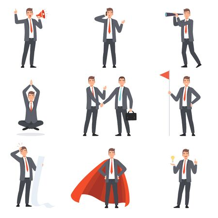 Illustration pour Businessmen characters, people in business suits in different situations vector illustration - image libre de droit